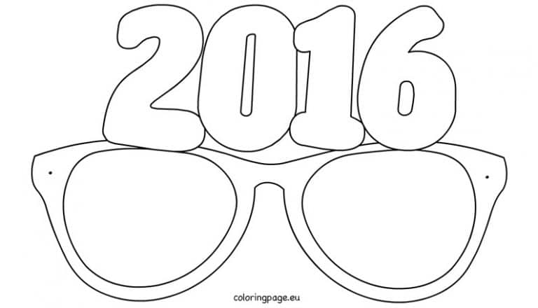 2016 Party Glasses Colouring Sheet