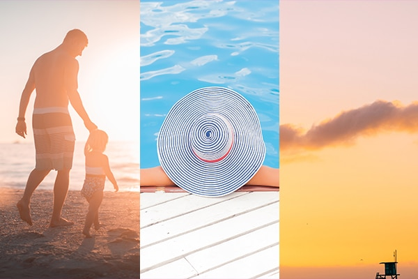 UV safety month header – a father and child at a beach, a sun hat, a lifeguard tower at sunset